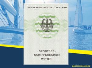 Bootsführerschein SSS - Sportseeschifferschein Wetter Kurs